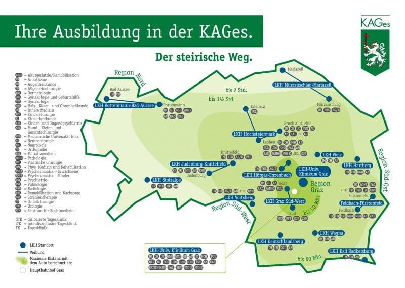 Kufferath Informationsdesign für KAGes Landkarte